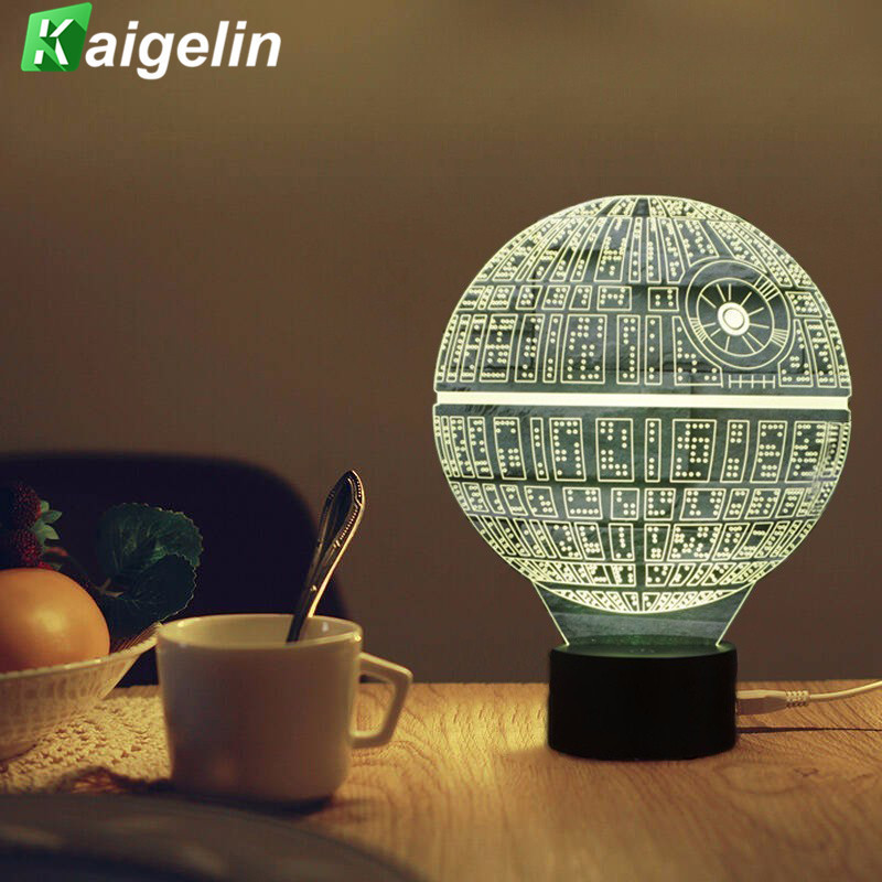 3D Lampe Star Wars Led Night Light Nouveauté USB Lampe de Bureau enfants Tactile Capteur LED Table Lumière 7 Couleurs Changeantes Lampe à Lave veilleuse