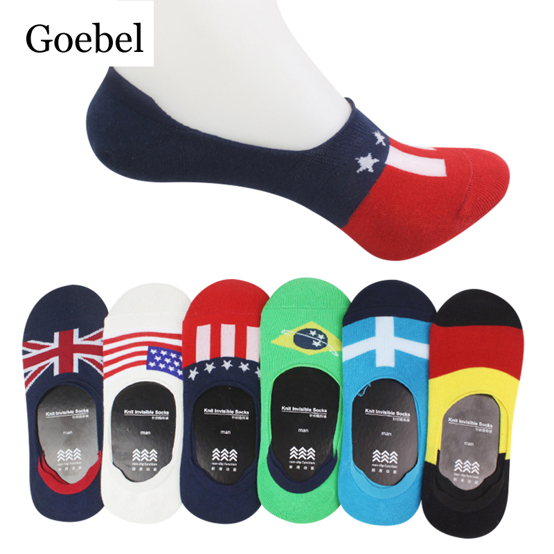 Goebel Man Boat Socks Cotton Breathable Non-slip Men Socks Invisible Flag Pattern Casual Male Fashion Socks 10pairs/lot