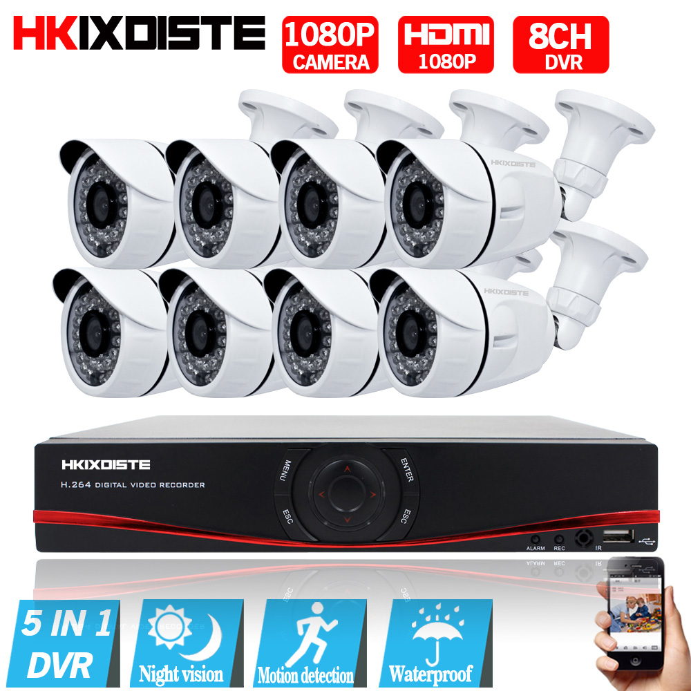 цена на HD 8CH CCTV System 1080P HDMI DVR AHD 1080P CCTV Security Camera 8PCS 2.0MP IR Outdoor Waterproof camera Video Surveillance kit