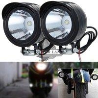 2 adet Siyah Motosiklet Bisiklet Yuvarlak Şeffaf Lens 12 V-80 V 3 W LED Ön Metal Sis Lambası Spot Işık Beyaz Başkanı Işık Harley Honda