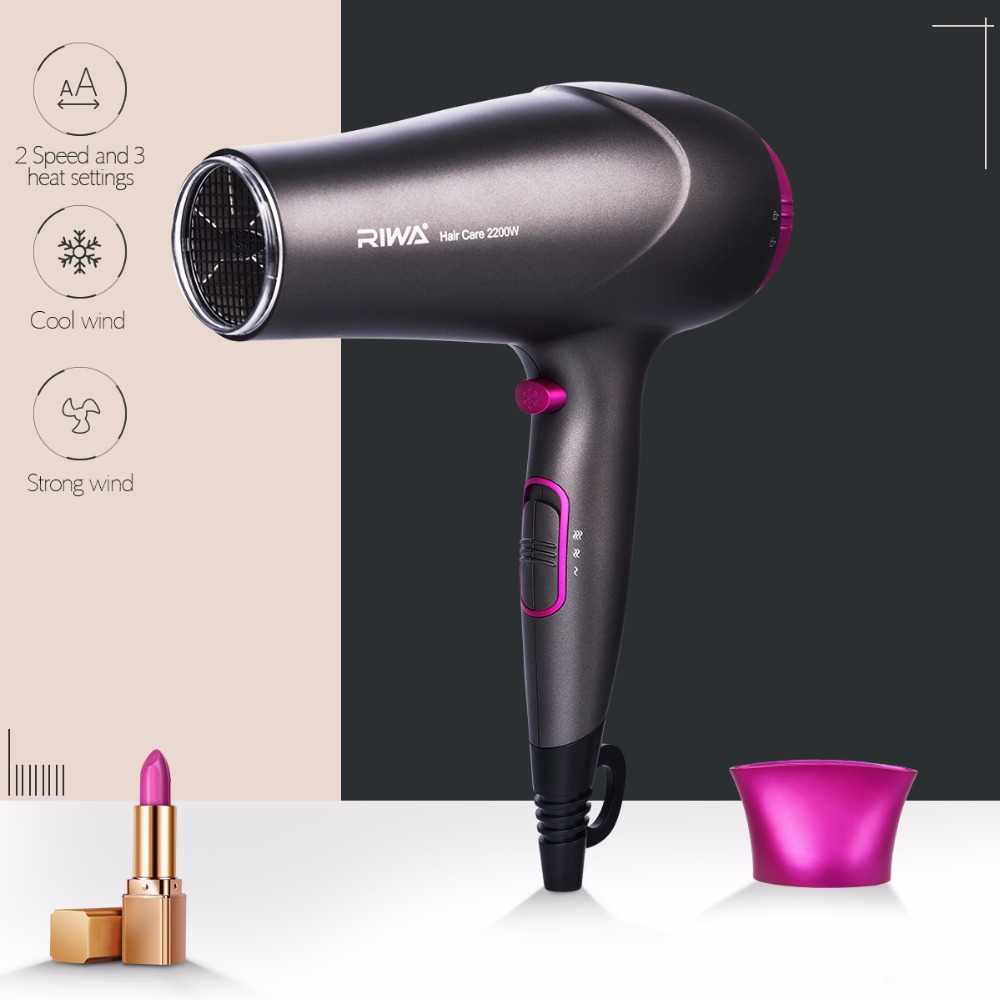 Professional 2200W Large Power Fast Electric Hair Dryer with 2 Wind Speed and 3 Heat Setting Wind Collecting Concentrator hireko fast setting shafting epoxy
