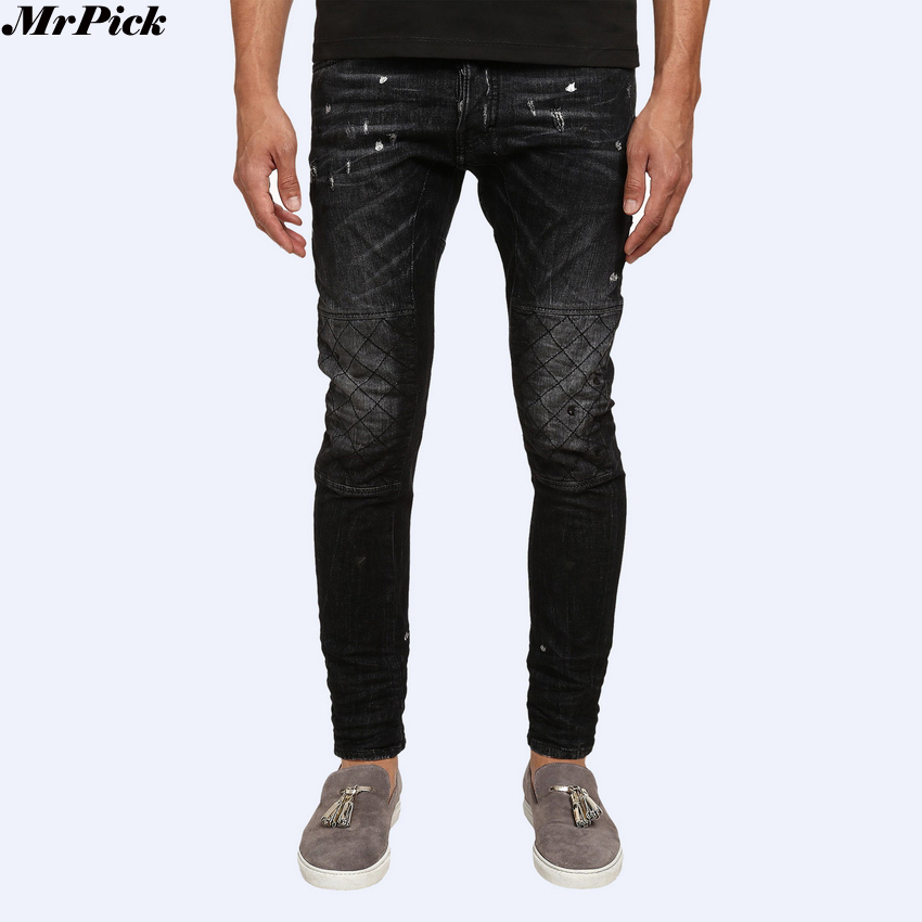 2017 New Men Shot Wash Tidy Skinny Button Fly Biker Jeans Designer Brand Destroyed Distressed Slim Stretch Denim Jeans sT0279 inc international concepts petite new diva wash skinny leg jeans 6p $69 5