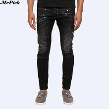 2017 New Men Shot Wash Tidy Skinny Button Fly Biker Jeans Designer Brand Destroyed Distressed Slim