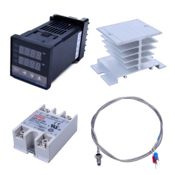 New Hot Digital 220V PID REX-C100 Temperature Controller + max.40A SSR + K Thermocouple PID Controller Set + Heat Sink pid digital temperature controller rex c100 0 to 400degree k type input ssr output
