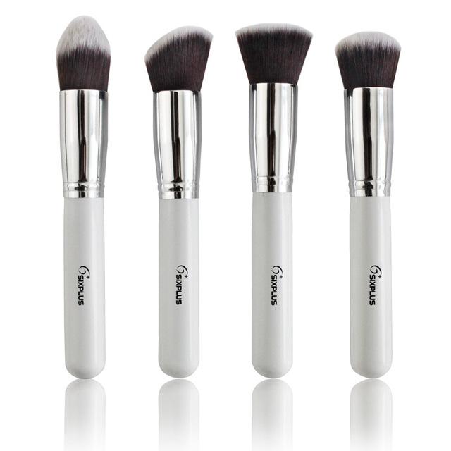 4 Pçs/sets Kits de Pincéis de Maquiagem Profissional de Cosméticos Suave Branco Compõem Brushe Definir Novas Mulheres Produtos de Higiene Pessoal Kit De Alumínio Make-up Tools