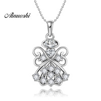 AINUOSHI Luxury 925 Sterling Silver Pendant Necklace for Women Angel Lovely Wings Long Chain Necklace Wedding Silver Jewelry