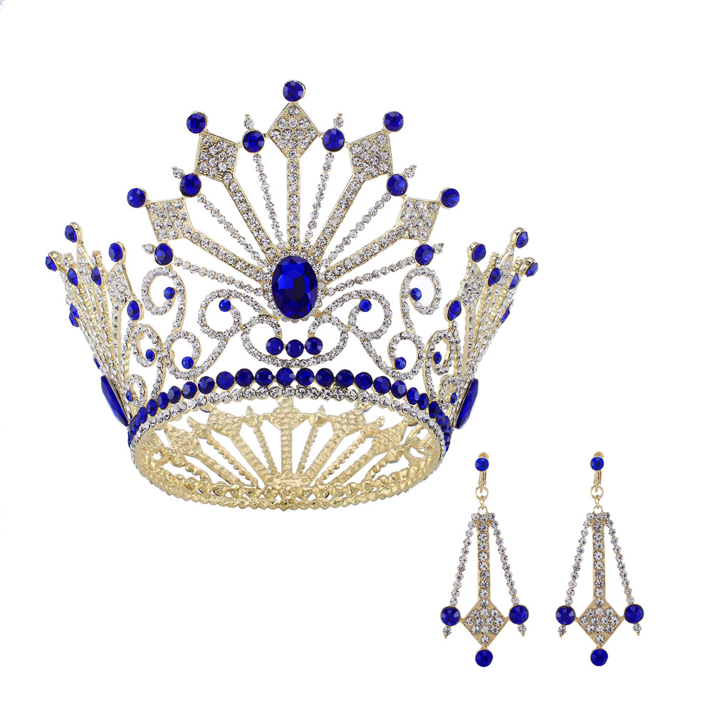 2018 Giant Miss Universe Queen King Men's Regal Sparkly Austrian Rhinestones Gold Golden Wedding Diadem Tiaras And Crowns Bride queen and king style party cosplay headwears golden 2 pcs