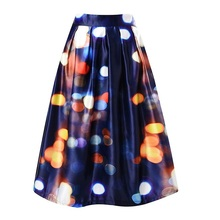 High Waist Pleat Elegant Skirt Star pattern Knee-Length A-Line Skirts Fashion Women Plus Size