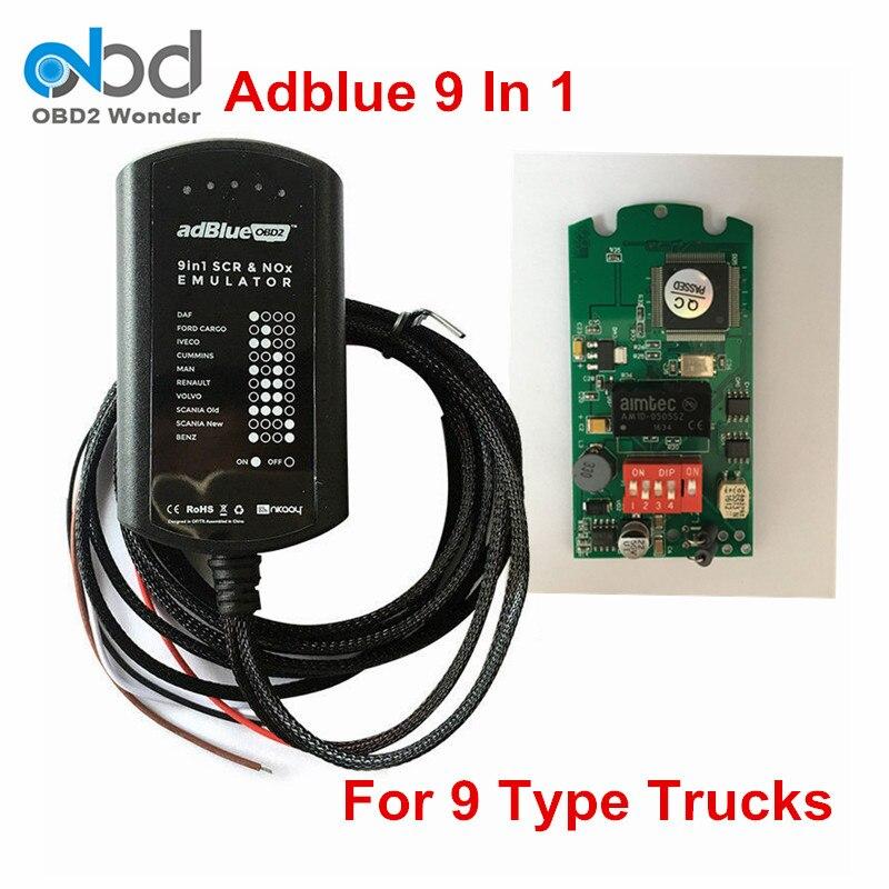 Prix pour New Universal 9 En 1 Ad-bleu Émulation Module/Camion Adblue Obd2 Enlever Outil 9in1 Adblue Émulateur Soutien EURO 4 et 5