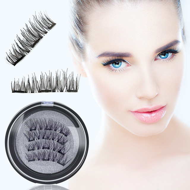 53b0e9b9bae 4pcs/pair Magnetic Eyelashes with 3 Magnet False Eyelashes Reusable Magnetic  Artificial Natural Long Lashes No Glue Maquiagem