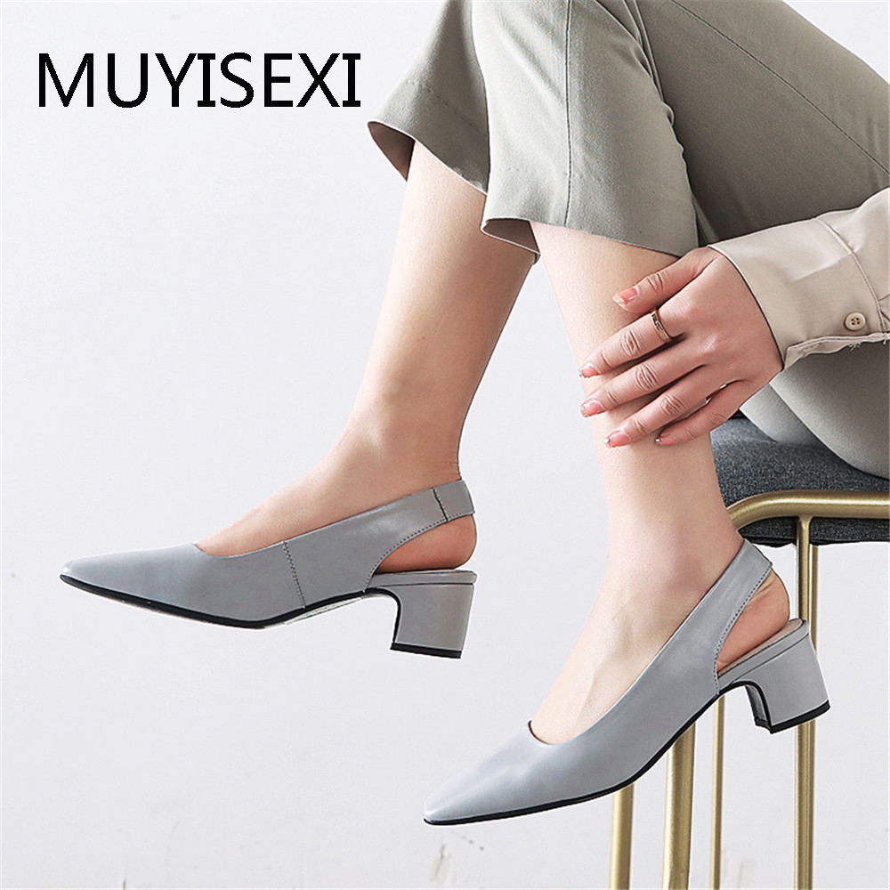 Casual Slingbacks Full Genuine Leather 4 5 cm Square Med High Heel Women Pumps Work Office