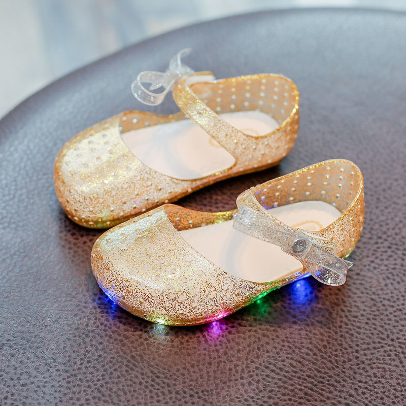 BABAYA melissa Baby Girls Party Dress Jelly Shoes Cute Bow Tie Hollow Out Girls Led Light Sandals Girls Glowing Sandals 816