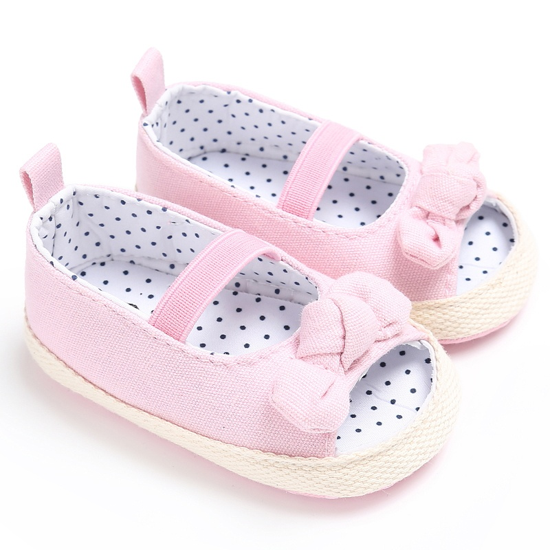 2017 Newborn Princess Baby Girls Shoes Bow Soft Bottom Pram Crib First Walkers Peep Toe Summer Shoes