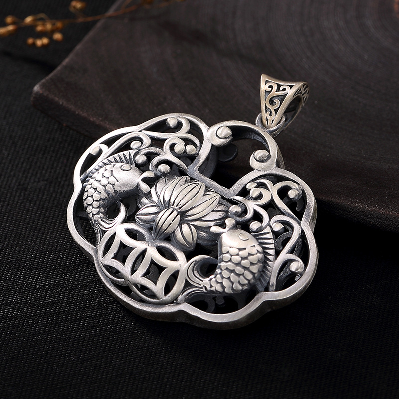 925 Sterling Silver Fish Pendant Lucky Gifts For Women Hollow Design Antique Jewelry Pendulos Para Radiestesia