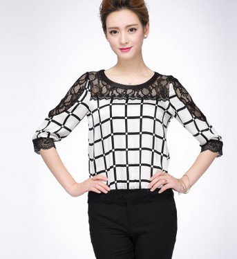 Lace grid sleeve bigger sizes in loose small unlined upper garment of mulberry silk round neck