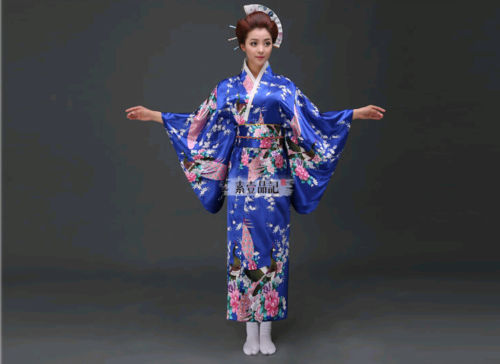 silk geisha Blue kimono