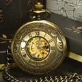 Tiedan bronze steampunk esqueleto relógio de bolso mecânico relógios homens marca de luxo antigo relógio de bolso colar & fob cadeia