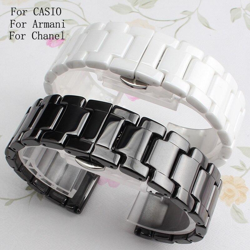 Hot Sale Ceramic 14mm16mm 18mm 19mm 20mm 22mm Black White Watchband Men Women Bracelet For AR