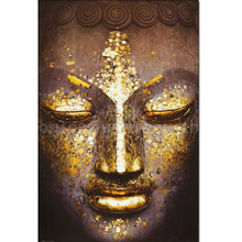 Professional Artist Handmade High Quality Abstract Gold Colors Buddha Oil Painting Hand-painted Golden