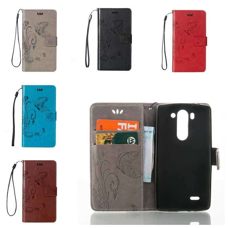 35cffaab3f0 For LG G3S D724 Case Vintage Leather Wallet Butterfly Pattern Cases For LG  Optimus G3 Beat