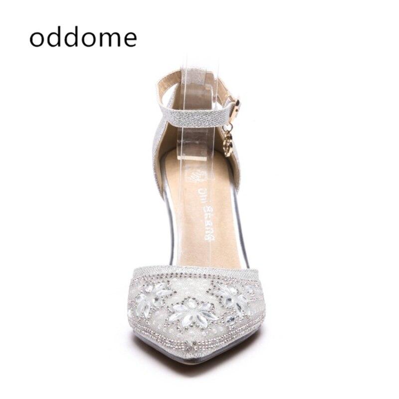 neue Sommer Schuhe Silber weibliche Sandalen Pailletten Tuch Strass - Damenschuhe - Foto 4