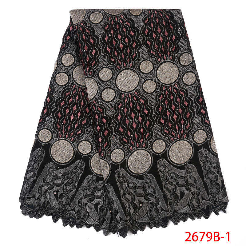 2019 Swiss Voile Lace Fabric High Quality African Cotton Swiss Voile Lace In Switzerland With Stones For Women Dresses KS2679B-1