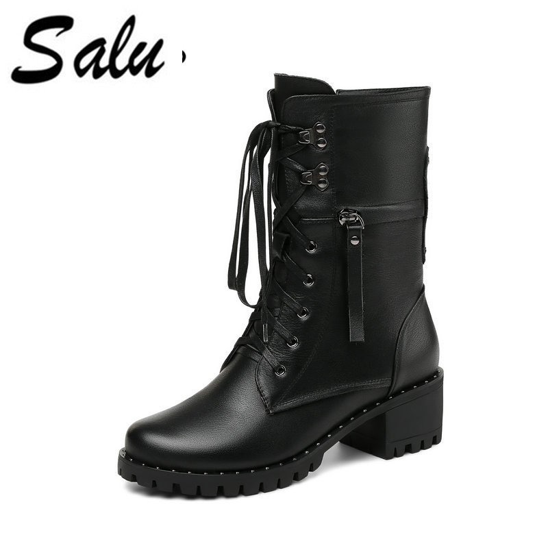Salu 2019 new style genuine leather ankle boots pointed toe thick heel chelsea boots calf leather women boots ladies shoes 2018 autumn new style genuine leather ankle boots pointed toe thick heel chelsea boots calf leather women boots ladies shoes