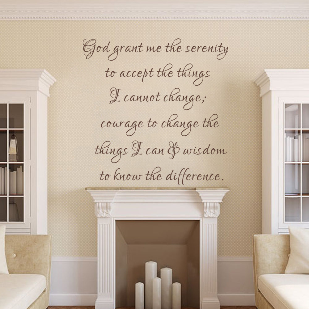 Christian home decor - God Grant Me The Serenity Inspirational Quote Wall Decal Quote Home Decor Art Vinyl Sticker Christian Quote 56cm X56cm