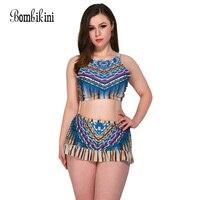 High Waisted Bikini Set Plus Size Swimwear Women S Swimsuit Bandeau Bikinis Top With Skirt Colorful