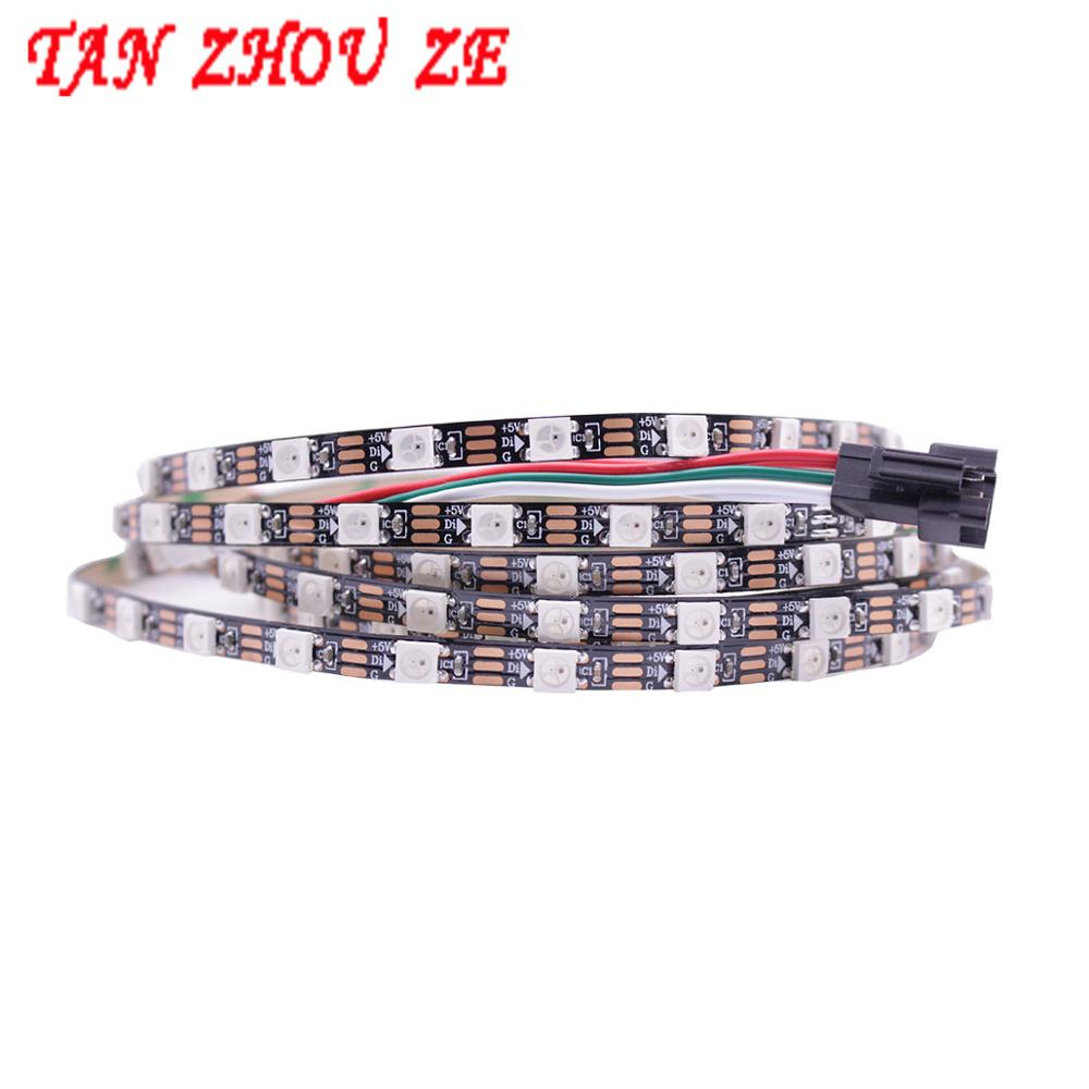 Addressable <font><b>DC5V</b></font> White Black PCB 1/2/3/5M <font><b>WS2812B</b></font> Pixel LED Strip 5mm 5050 RGB 60LEDs/m WS2812 Digital Light SK6812 Dream Color image