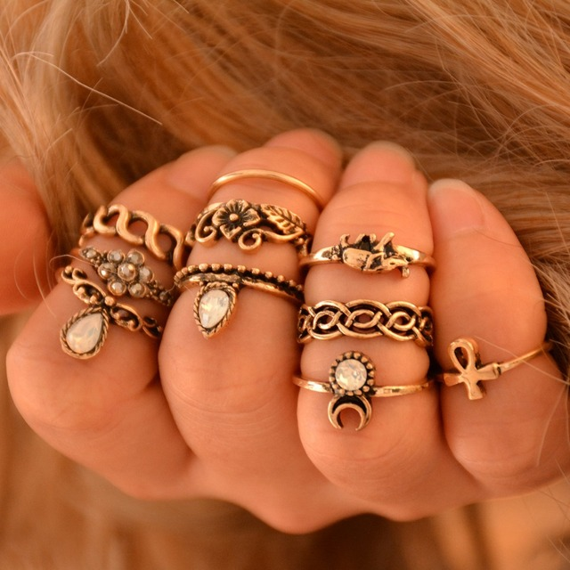 Women's 10 Piece Vintage Ring Set