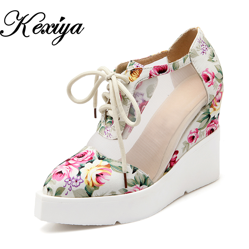 2016 New women pumps fashion Spring/Autumn ladies shoes plus size 34-42 Pointed Toe Casual Lace-Up Wedges platform high heels
