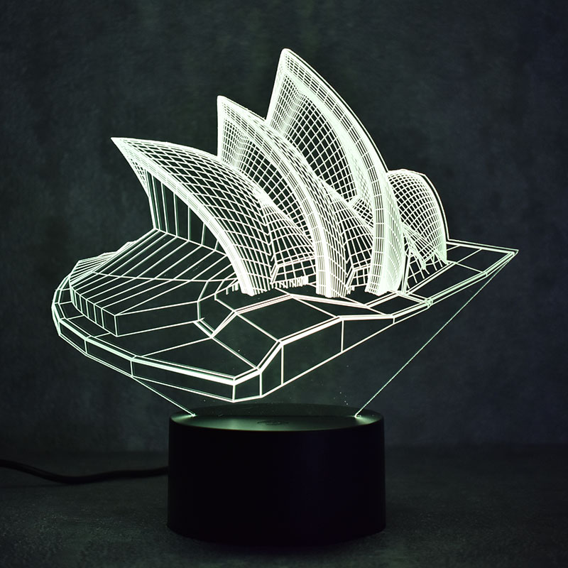 Novedad 3D LED Lámpara de mesa Visual Sydney Luminaria colorida USB - Luces nocturnas