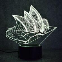 Novelty 3D LED Table Lamp Visual Sydney Colorful Light Fixture USB Creative House Mood Sleeping Night Light Opera Lamp Kids Gift