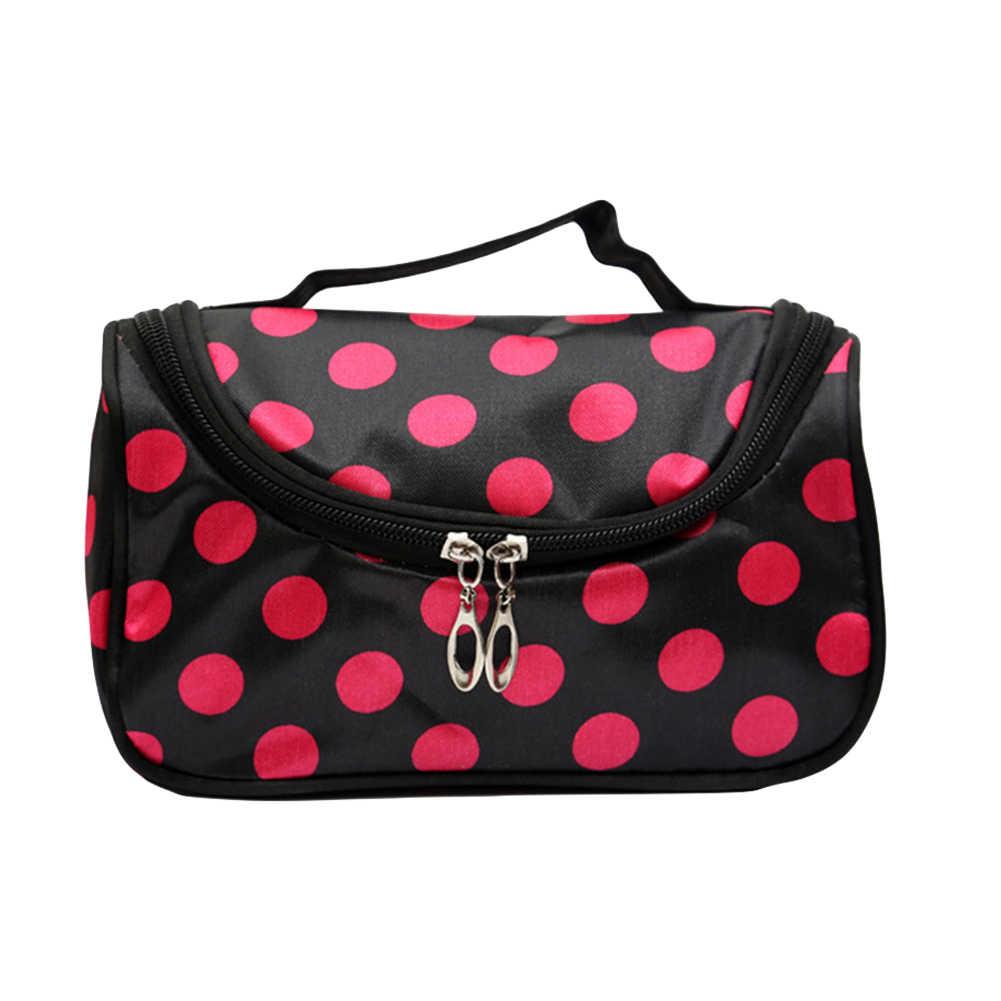 المرأة لطيف نقطة شريط الشفاه ليوبارد السفر مستحضرات التجميل مخزن للمكياج مقسم حقيبة