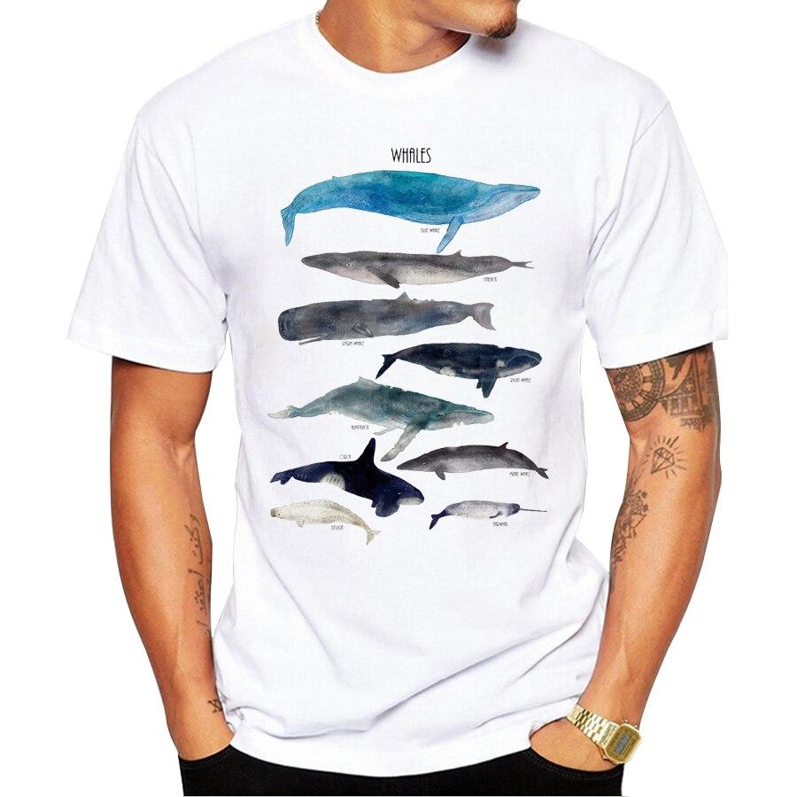 Tops populares de moda para hombre 2019 verano estampado novedoso diseño de ballenas camisetas de manga corta para hombre muy interesantes Tops calientes