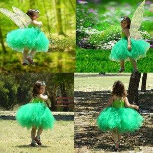 Image 5 - 1 Bộ Cosplay Tinkerbell Ma Thuật Cổ Tích Tutu Dress Up Công Chúa Cô Gái Birthday Party Dress Màu Xanh Lá Cây Kids Halloween Costume Với Wing