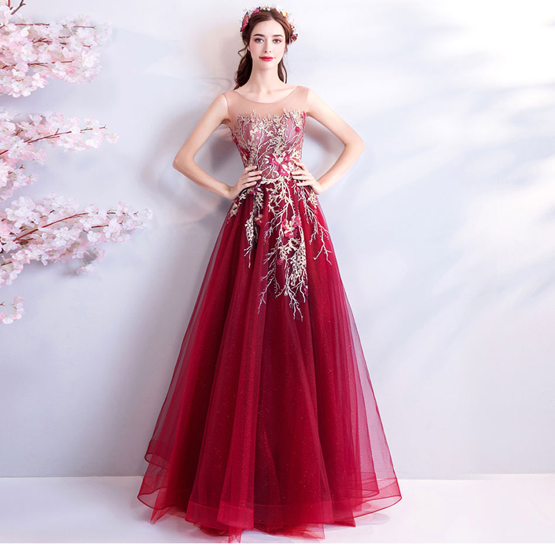 Red Sleeveless Sexy Women Fairy   Prom     Dress   Beads Evening Gowns Exquisite Crystals Formal Party Mesh   Dresses   O-neck Abendkleider