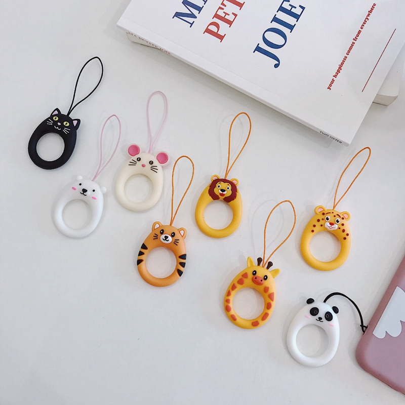 10pcs Cartoon Cell Phone Lanyard Silicone Ring Mobile U Disk Universal Cute Short Lanyards