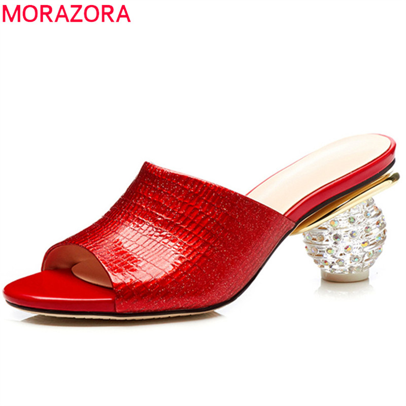 MORAZORA red big size 2018 summer new shoes woman sexy peep toe shallow mules shoes elegant slippers women genuine leather slippers women genuine leather peep toe slip on mules for women red square heels summer womens shoes plus size kakx01 muyisexi