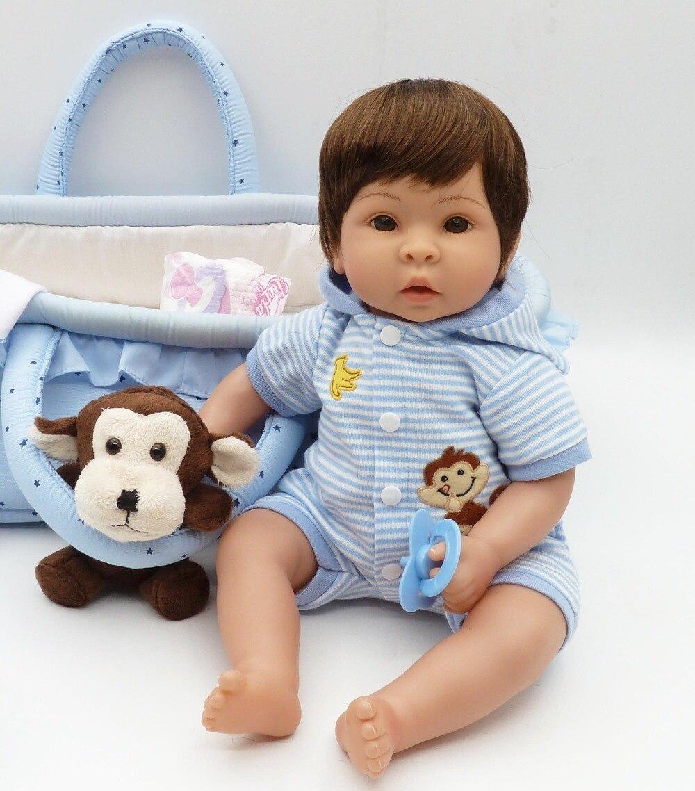 42 cm de couchage panier reborn bébé jouet poupées en vinyle souple en silicone garçon reborn poupées lol poupées originales bonecas jouer maison jouet