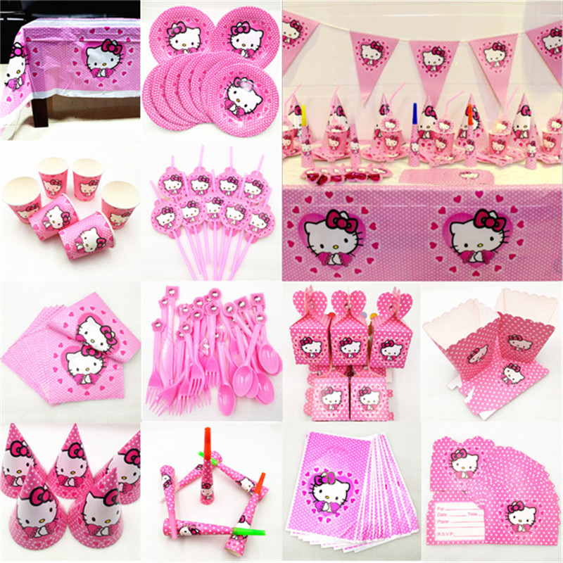 Kid Birthday Hello Kitty Party Supplies Decoration Tablecloth Cup Plate Straw Napkin Cap Gift Bag Candles Candy Popcorn Box Card