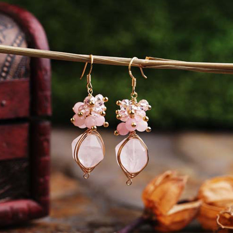 Lanseis Charm Leave Pink Stone Big Pearl Earrings, 1Pcs Unique Party, Wedding, Spring Style, Design Handmade Jewelry For Women