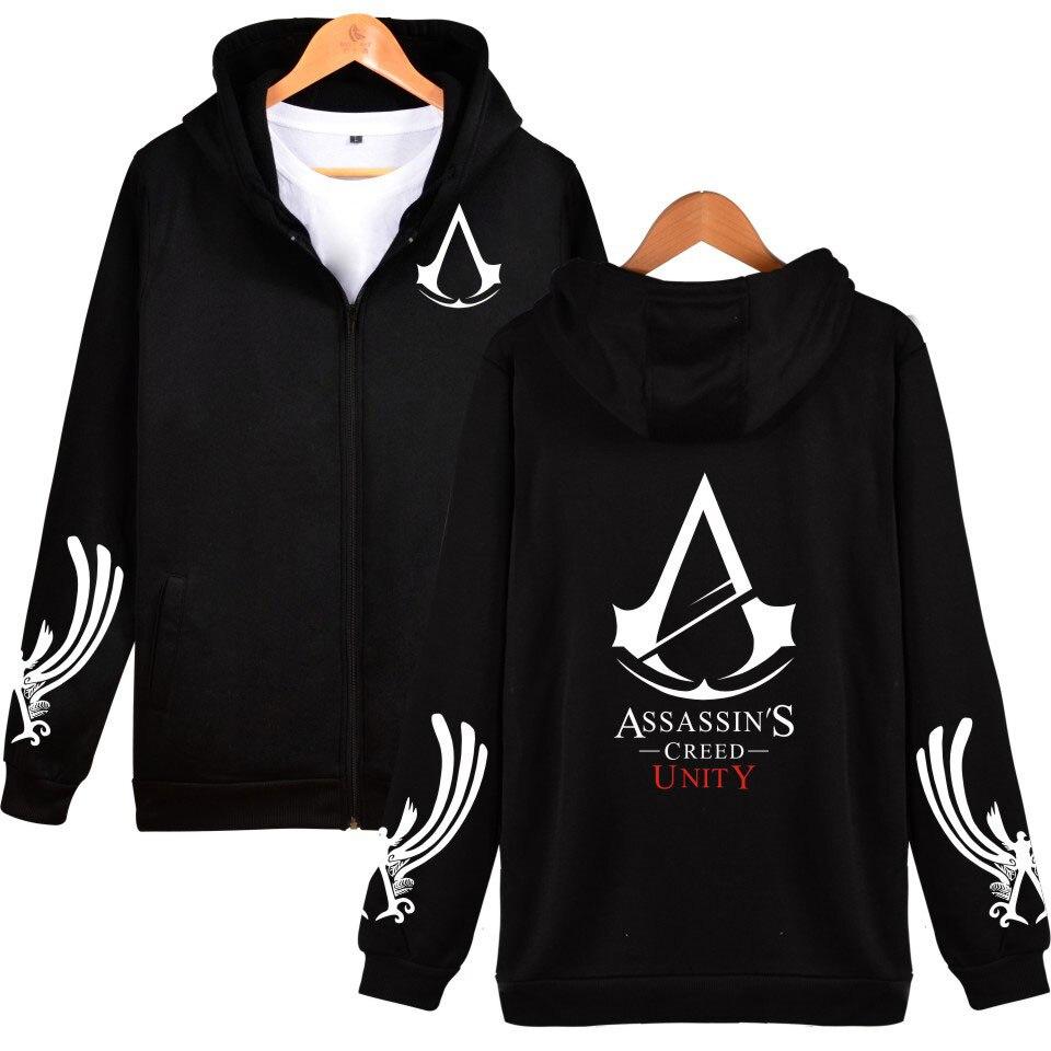 Assassins Creed Hoodies Black Cosplay Sweatshirt Assassins Creed Hoodie Jacket Men and Women Black Hip Hop Sweatshirts Plus Size