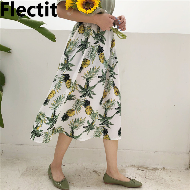 6bde4ce236c0 Detail Feedback Questions about Flectic Womens Boho Chic Clothing Tropical Floral  Print Skirt Pineapple Musa Palm Dots Mid Length Elastic Waist Pleated ...