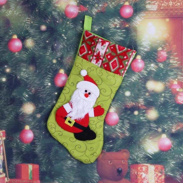 0ca309a051c41e Large Christmas Stocking Gift Candy Bag Santa Claus Snowman Xmas Tree  Hanging Ornaments Home Decoration Supplies