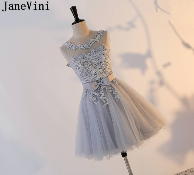 JaneVini Elegant Dress Women for Wedding Party Grey Bridesmaid Dresses Sleeveless Lace Cheap Homecoming Maid Of Honor Gown Tulle