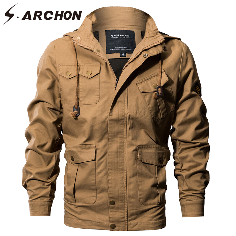 S.ARCHON US Air Force Tactical Hooded Pilot Jackets Men Winter Warm Cotton Military Bomber Jacket Cargo Outerwear Flight Clothes