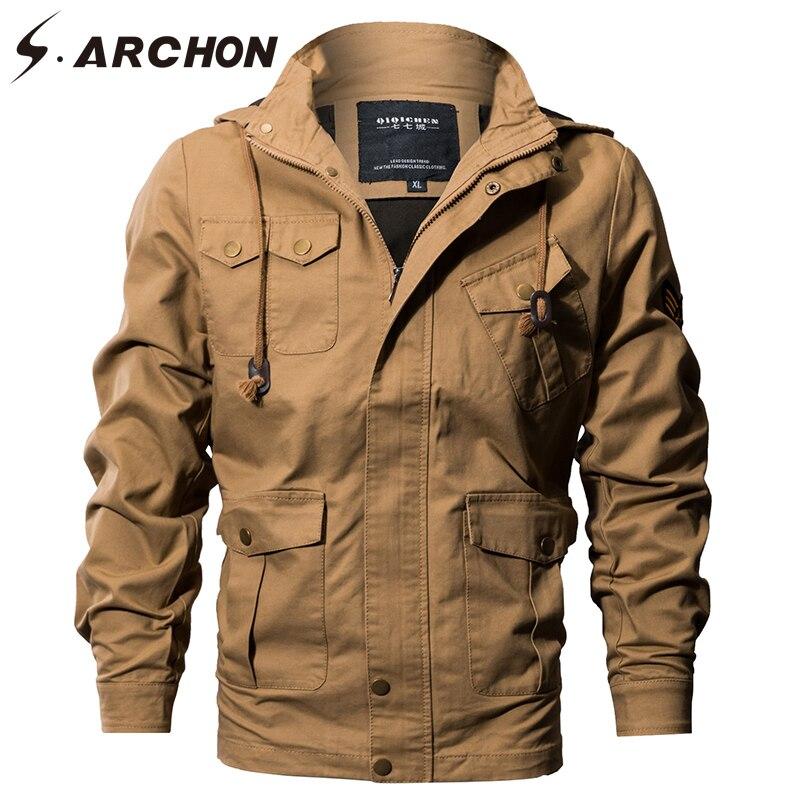 S. ARCHON ВВС США Тактический с капюшоном пилот куртки для мужчин зимние теплые хлопковые Военная Униформа курточка бомбер брюки карго верхняя