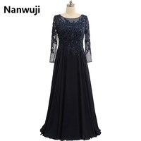 Elegant Lace Long Sleeve Party Dress Plus Size Beadings Mother Dress Navy Blue Long Lace Chiffon